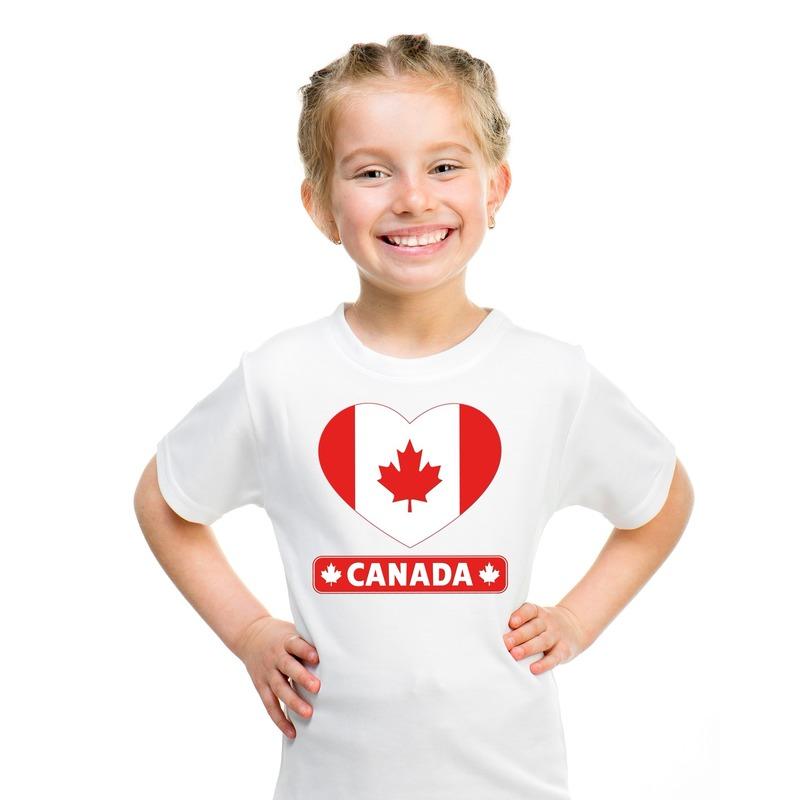 Canada hart vlag t-shirt wit jongens en meisjes