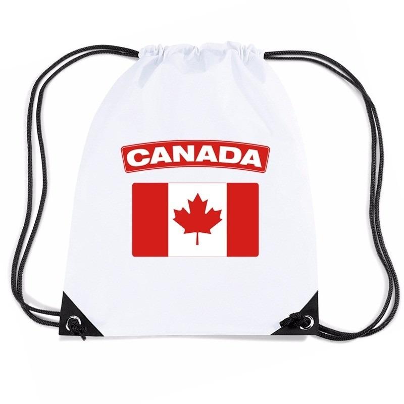 Canada nylon rugzak wit met Canadese vlag