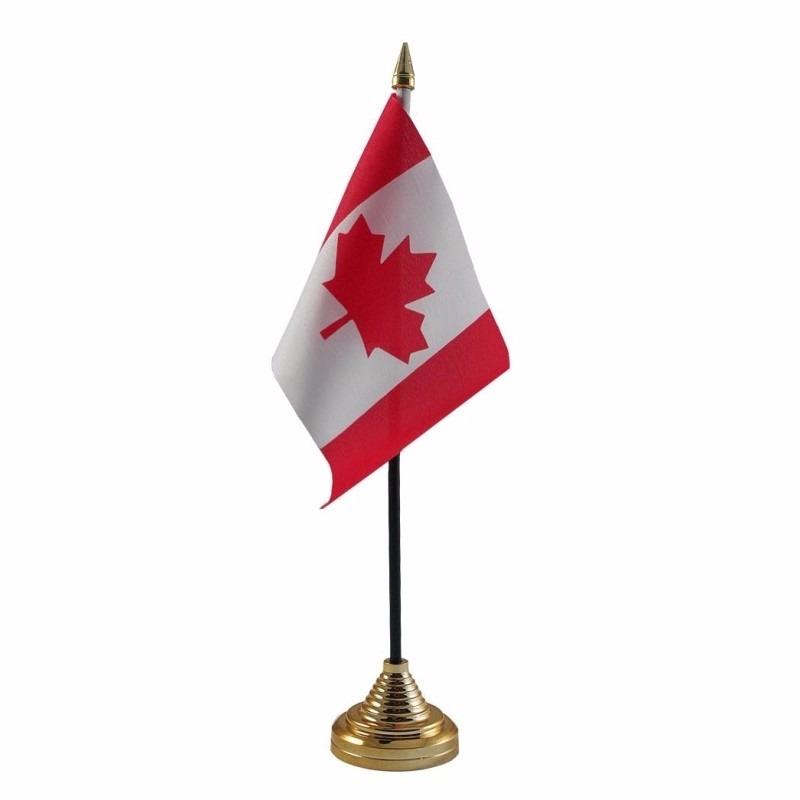 Canada tafelvlaggetje 10 x 15 cm met standaard