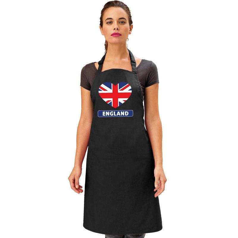 Engeland hart vlag barbecueschort/ keukenschort zwart