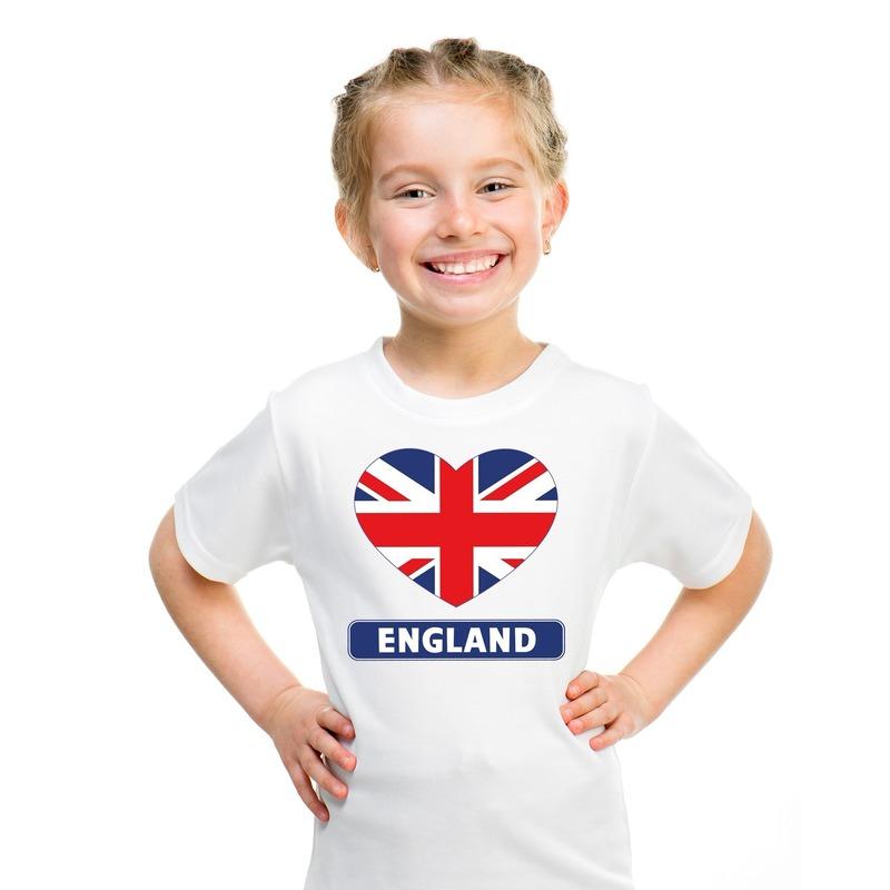 Engeland hart vlag t-shirt wit jongens en meisjes