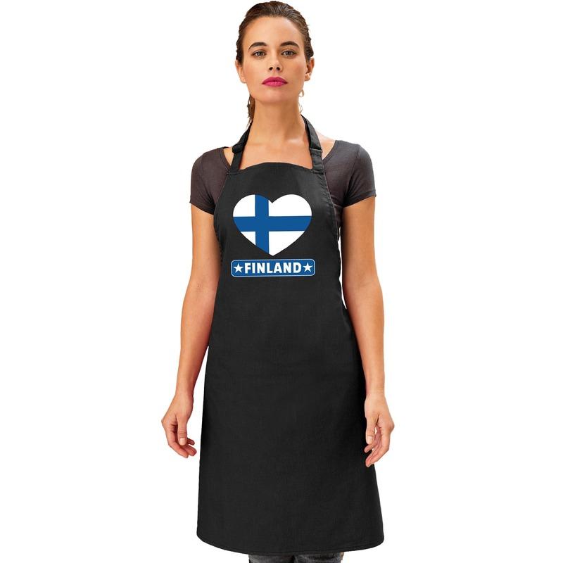 Finland hart vlag barbecueschort/ keukenschort zwart
