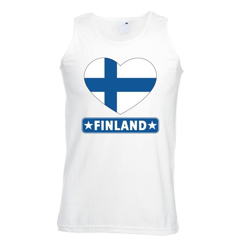 Finland hart vlag singlet shirt/ tanktop wit heren
