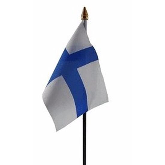 Finland mini vlaggetje op stok 10 x 15 cm