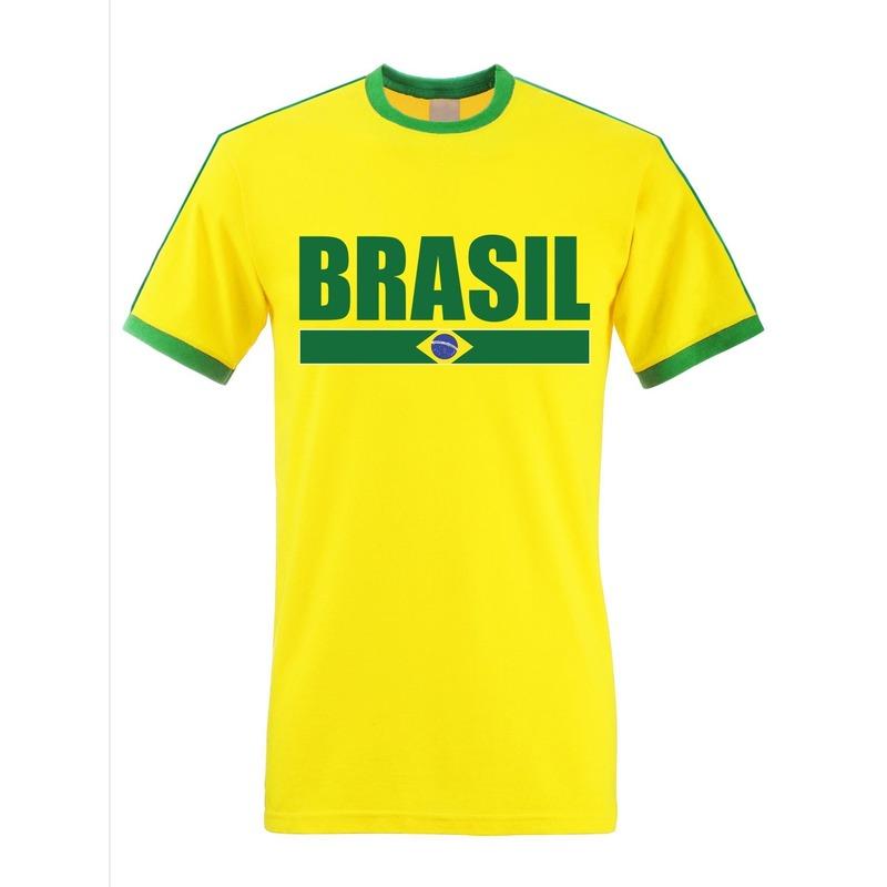 Geel/ groen Brazilie supporter ringer t-shirt voor heren
