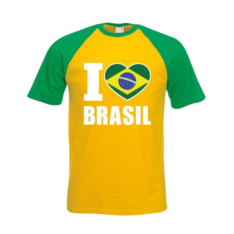 Geel/ groen I love Brazilie fan baseball shirt heren