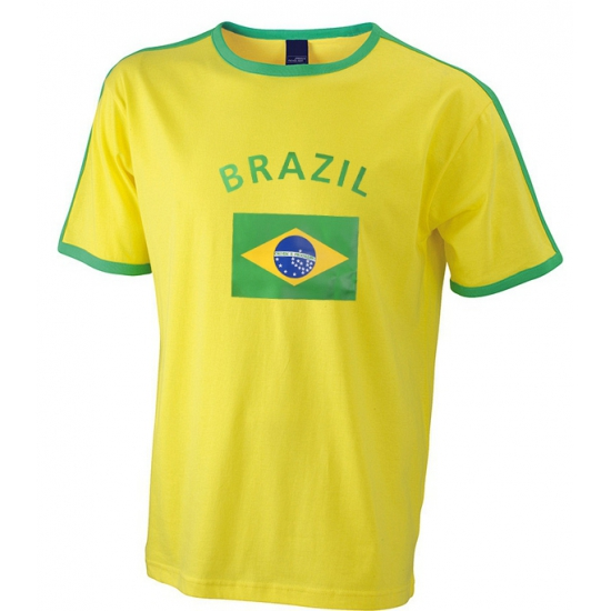Geel heren shirt vlag Brazilie