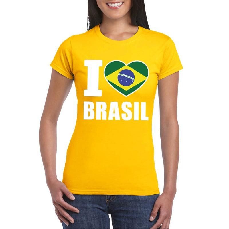Geel I love Brazilie fan shirt dames
