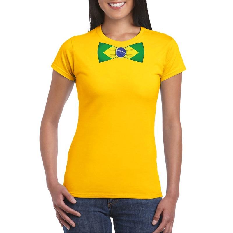 Geel t-shirt met Brazilie vlag strikje dames
