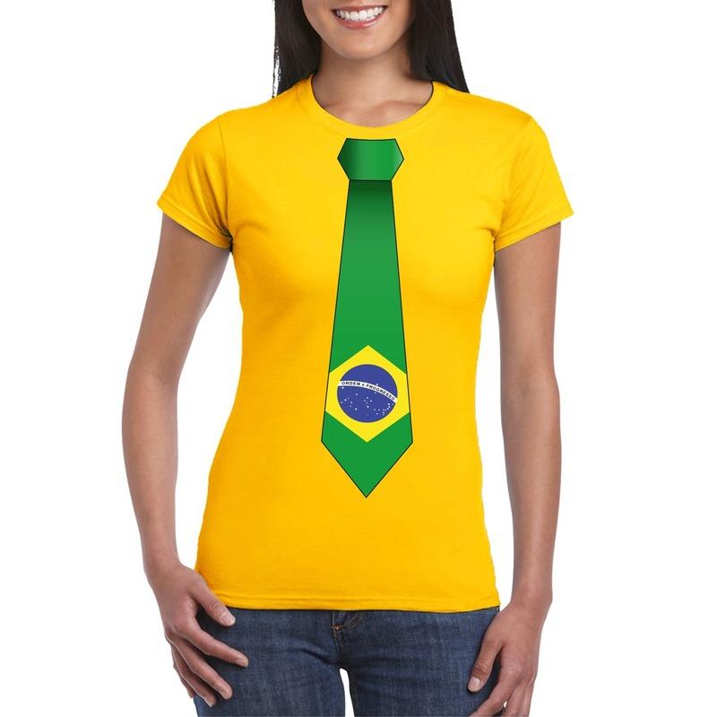 Geel t-shirt met Brazilie vlag stropdas dames