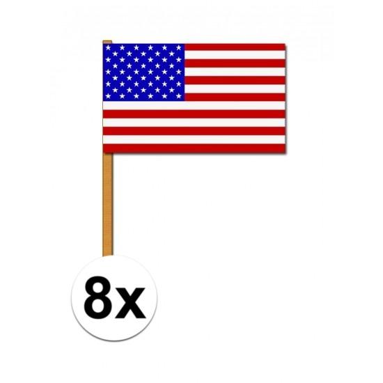 Luxe zwaaivlag Amerika 8 stuks