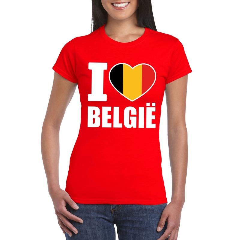Rood I love Belgie shirt dames