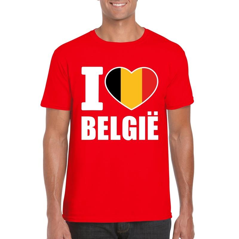 Rood I love Belgie shirt heren