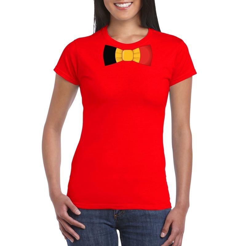 Rood t-shirt met Belgie vlag strikje dames