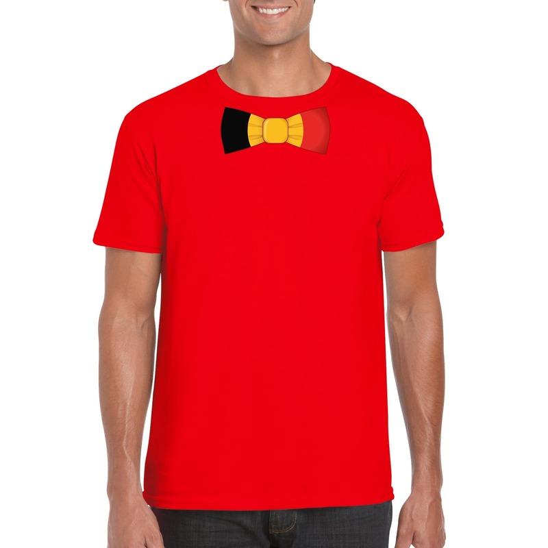 Rood t-shirt met Belgie vlag strikje heren