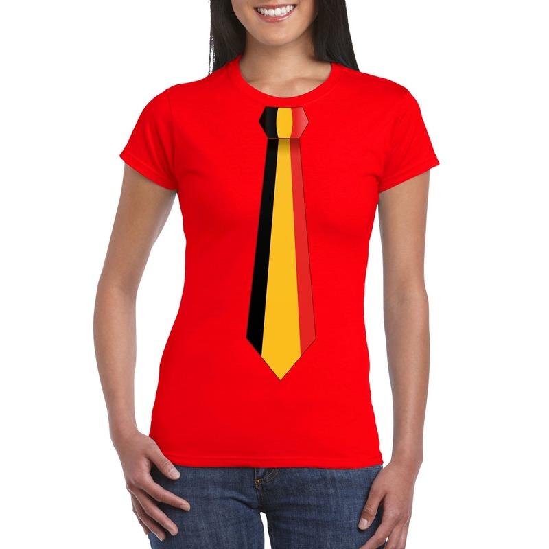 Rood t-shirt met Belgie vlag stropdas dames