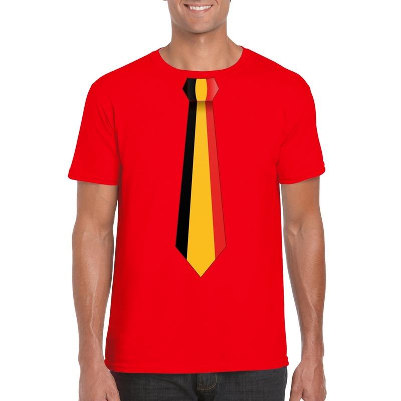 Rood t-shirt met Belgie vlag stropdas heren