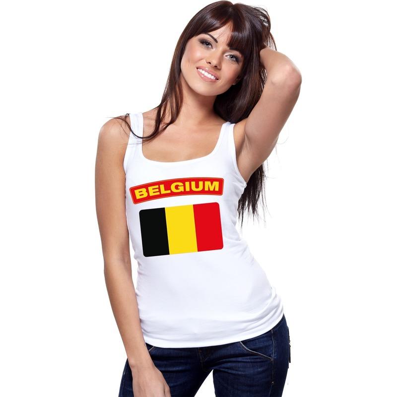 Singlet shirt/ tanktop Belgische vlag wit dames