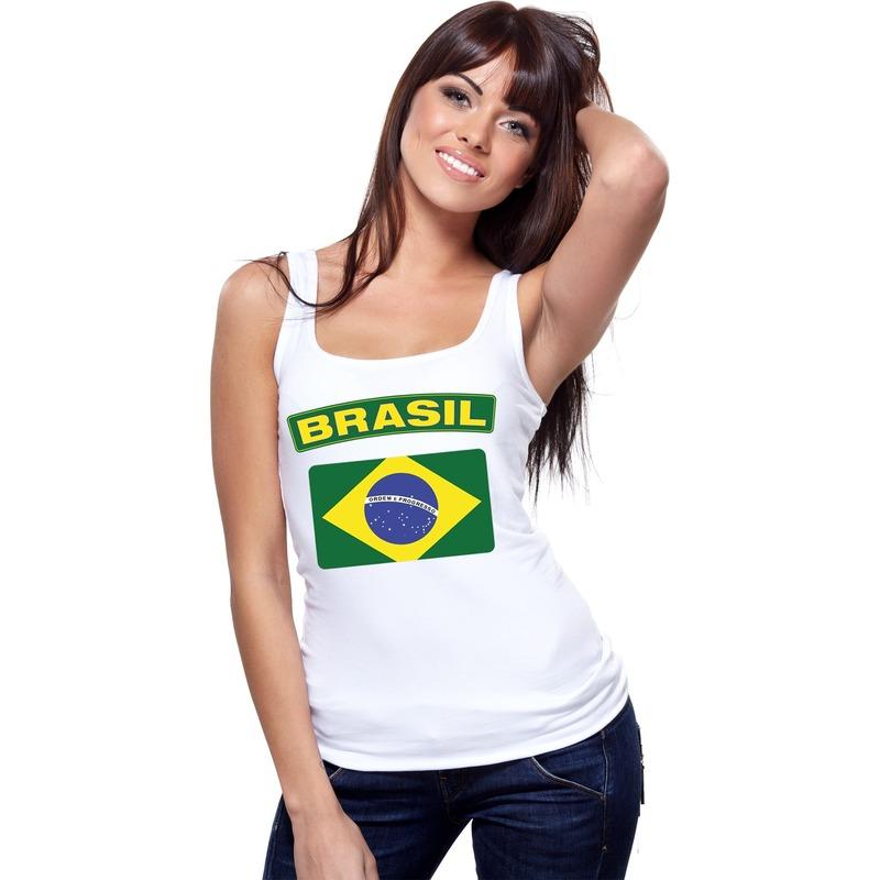 Singlet shirt/ tanktop Braziliaanse vlag wit dames