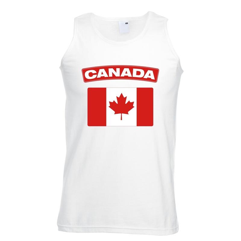 Singlet shirt/ tanktop Canadese vlag wit heren