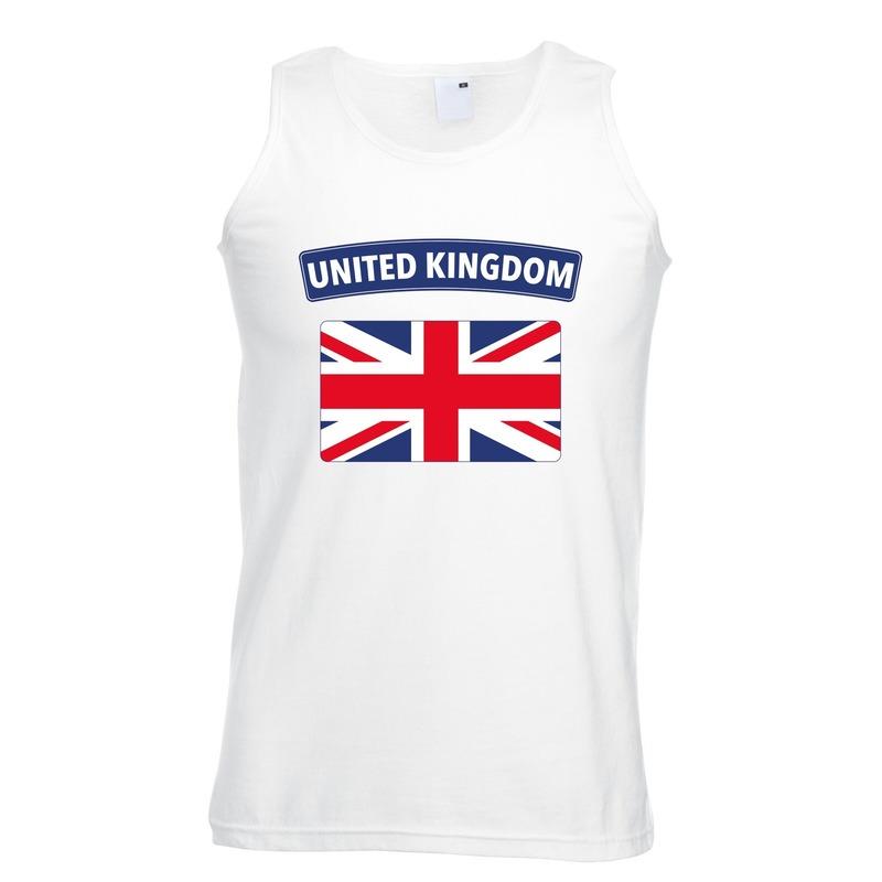 Singlet shirt/ tanktop Engelse vlag wit heren