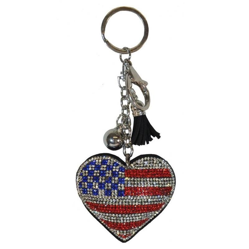 Sleutelhanger Amerikaanse/USA vlag 15 cm