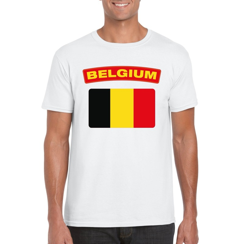 T-shirt met Belgische vlag wit heren
