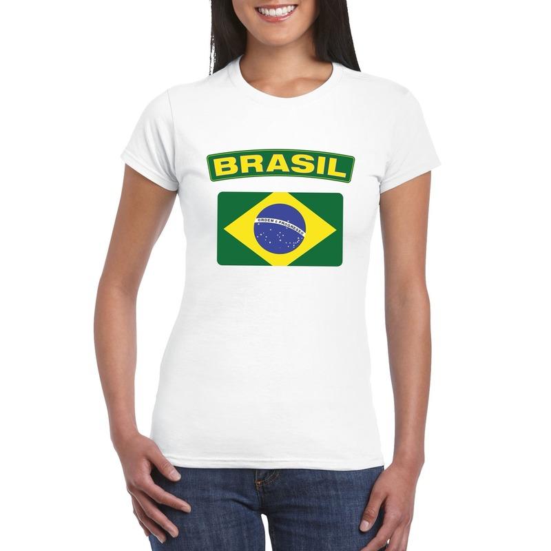 T-shirt met Braziliaanse vlag wit dames