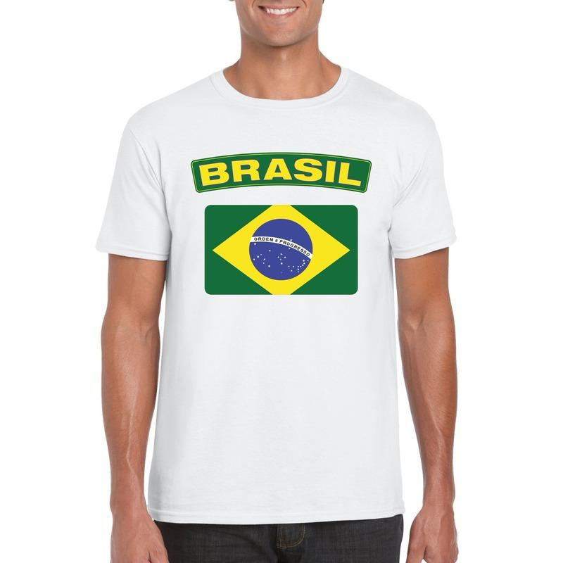 T-shirt met Braziliaanse vlag wit heren
