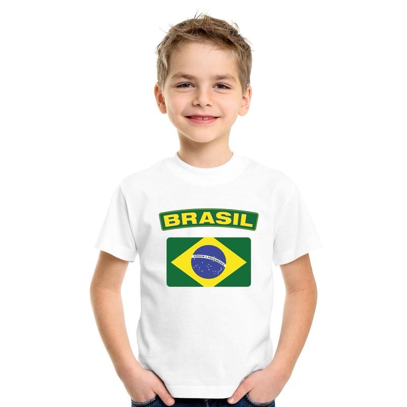 T-shirt met Braziliaanse vlag wit kinderen