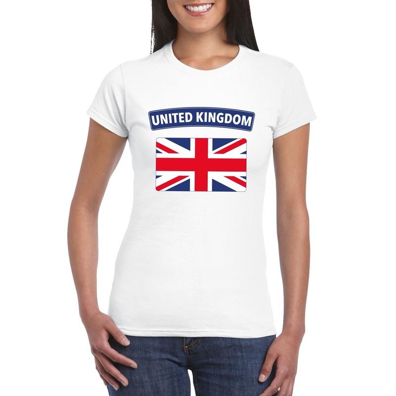 T-shirt met Groot Brittannie/ Engelse vlag wit dames