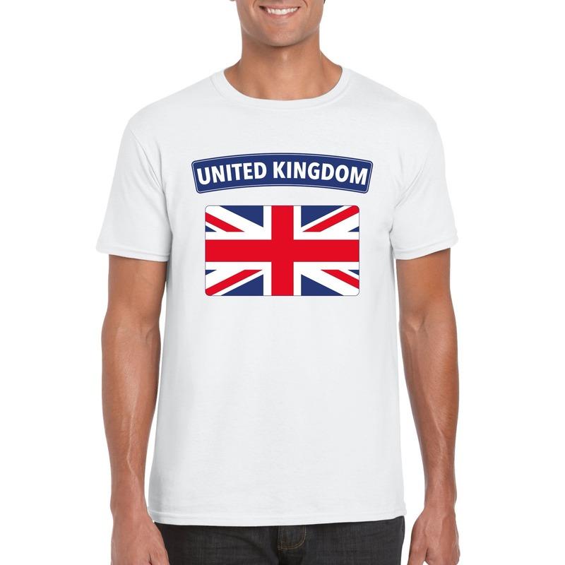 T-shirt met Groot Brittannie/ Engelse vlag wit heren