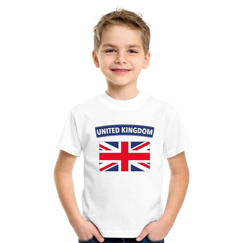 T-shirt met Groot Brittannie/ Engelse vlag wit kinderen