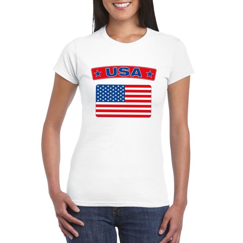 T-shirt met USA/ Amerikaanse vlag wit dames