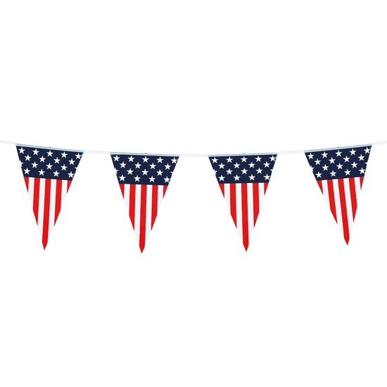 Vlaggenlijn/vlaggetjes Amerika/USA 6 meter