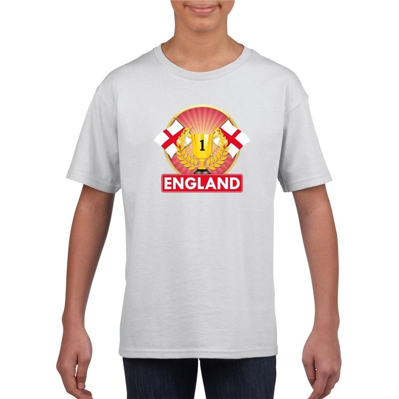 Wit Engeland supporter kampioen shirt kinderen