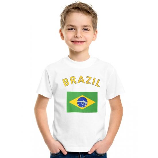 Wit kinder t-shirt Brazilie