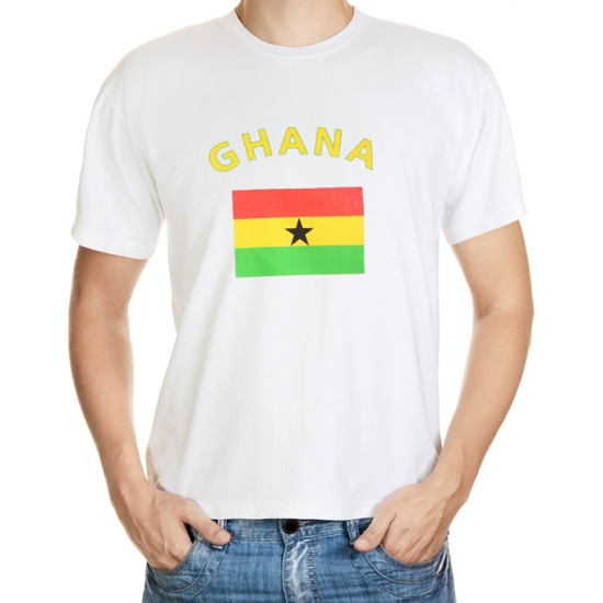 Wit t-shirt Ghana heren