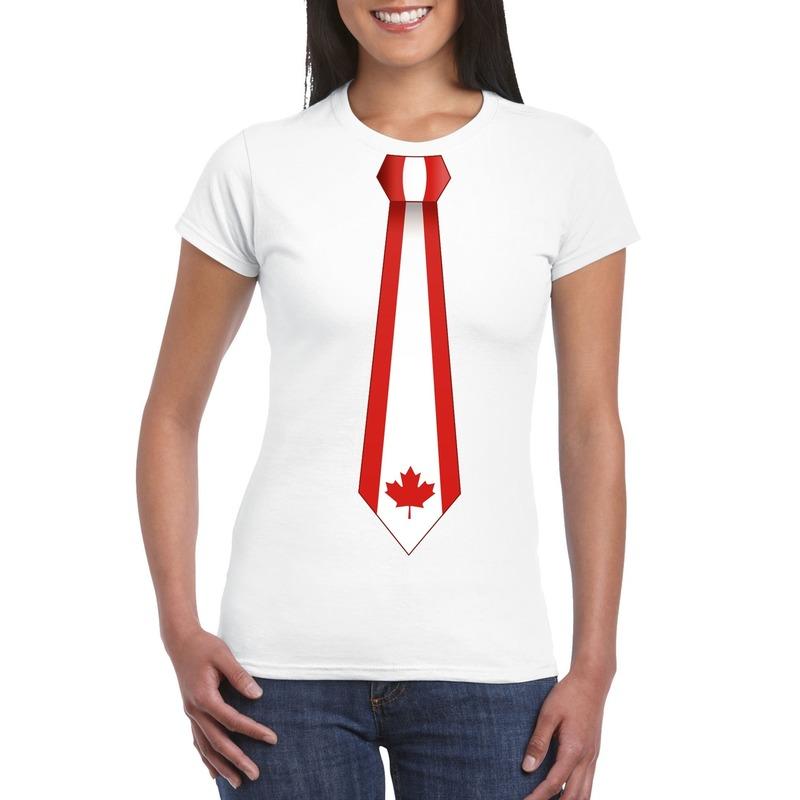 Wit t-shirt met Canada vlag stropdas dames