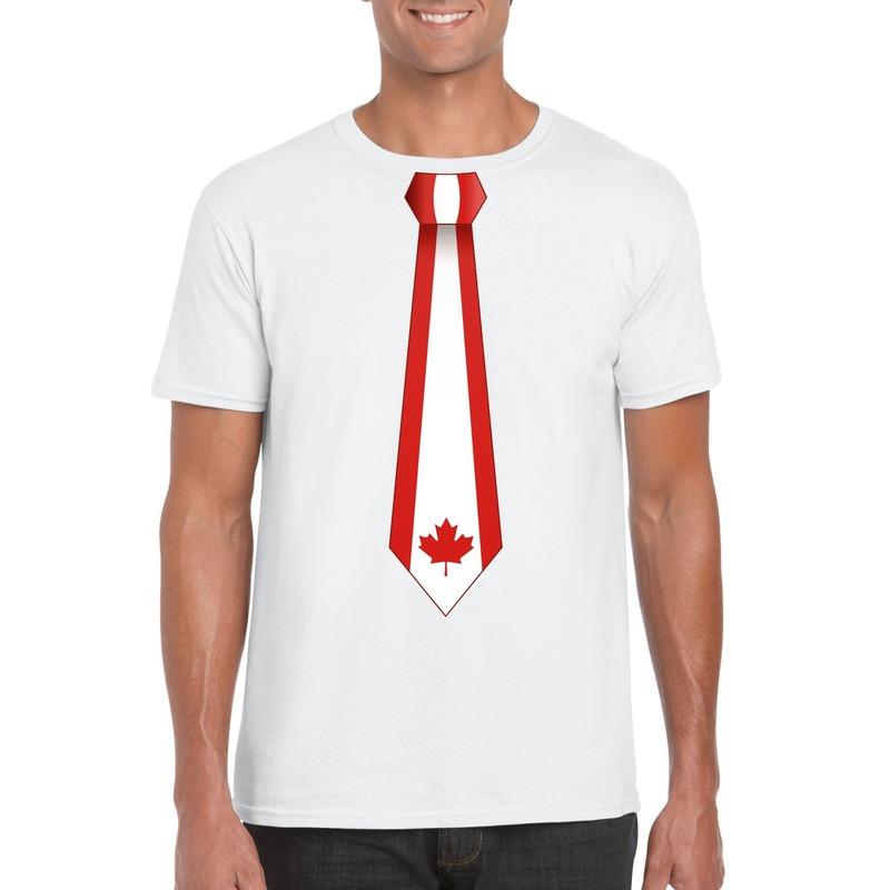 Wit t-shirt met Canada vlag stropdas heren