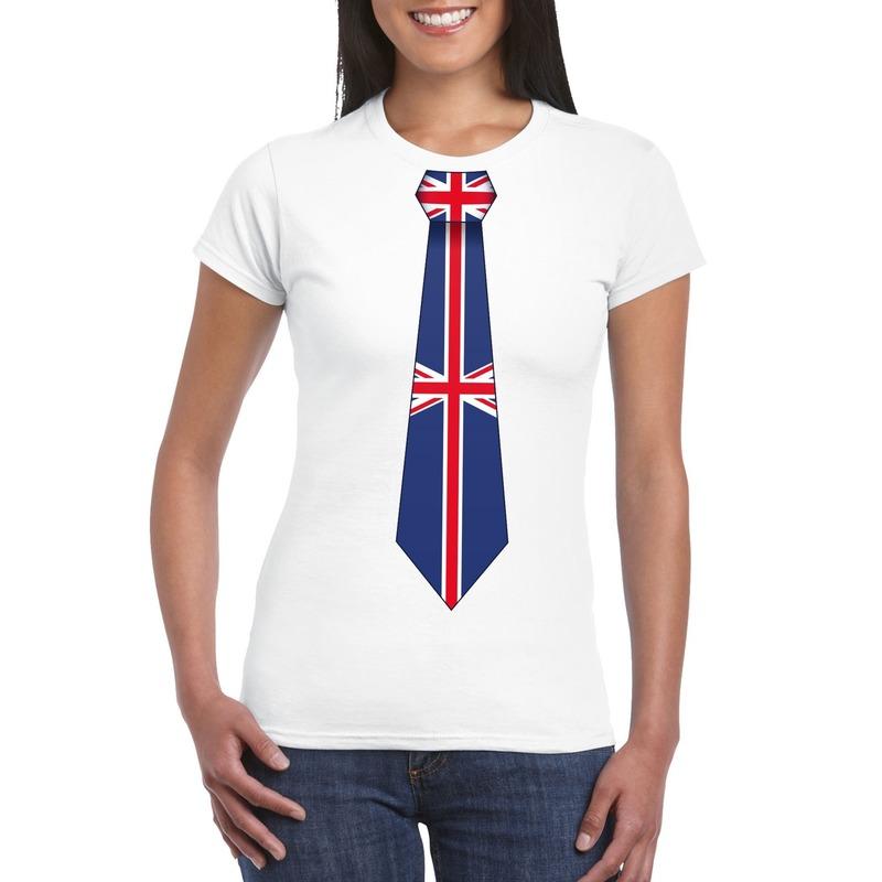Wit t-shirt met Engeland vlag stropdas dames