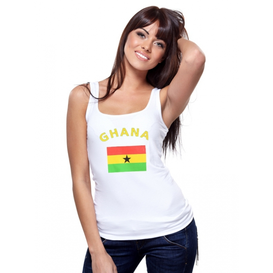 Witte dames tanktop Ghana
