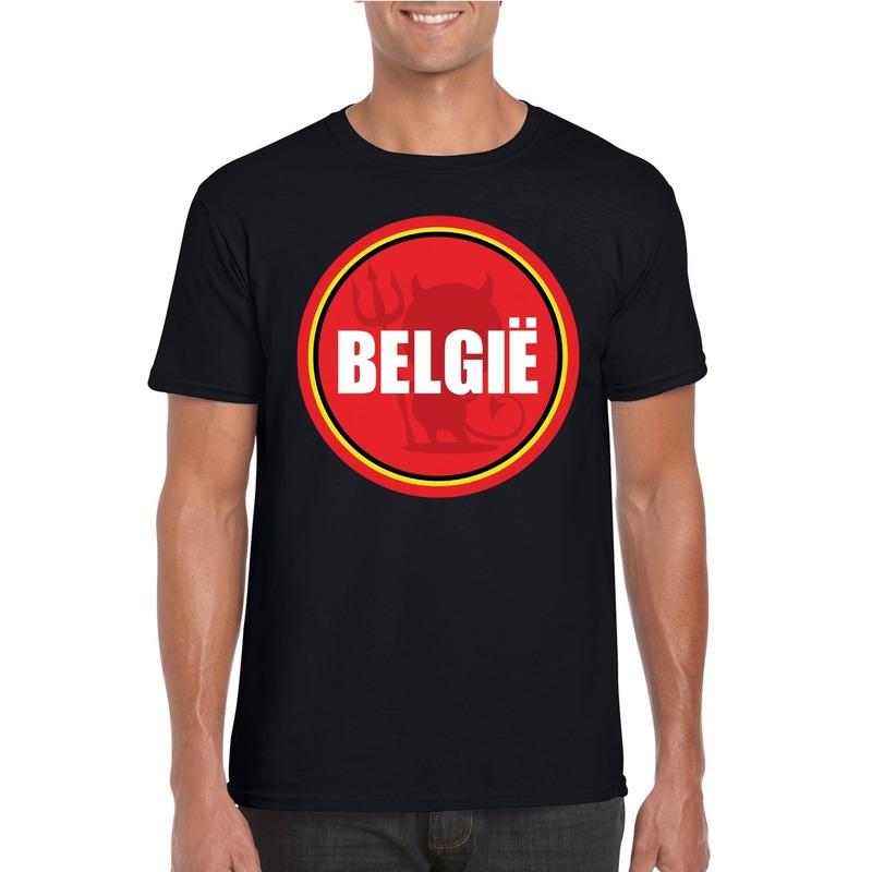 Zwart Belgie shirt met duivel in cirkel shirt heren