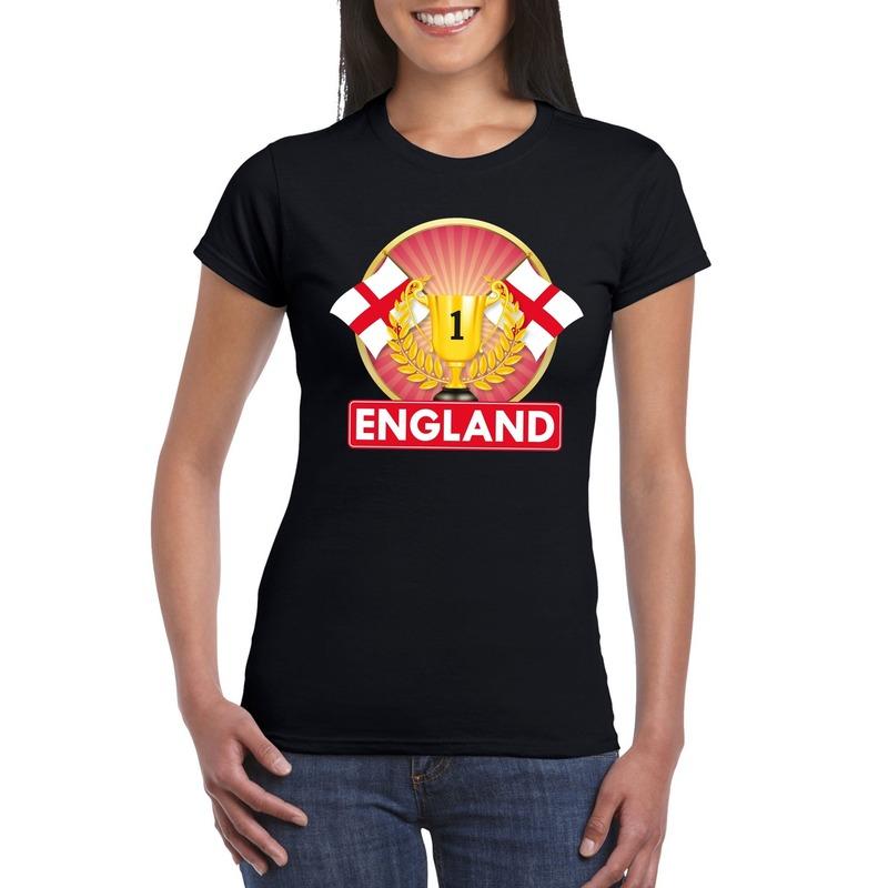Zwart Engeland supporter kampioen shirt dames