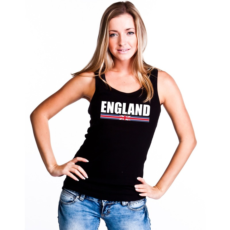 Zwart Engeland supporter singlet shirt/ tanktop dames