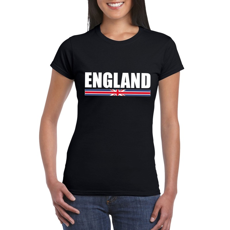 Zwart Engeland supporter t-shirt voor dames