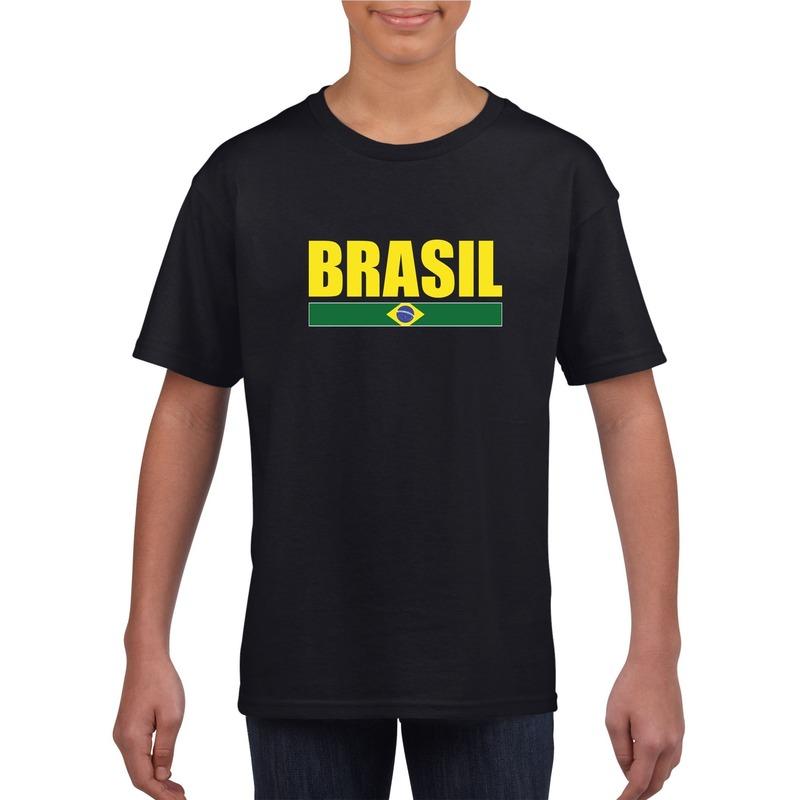 Zwart / geel Brazilie supporter t-shirt voor kinderen
