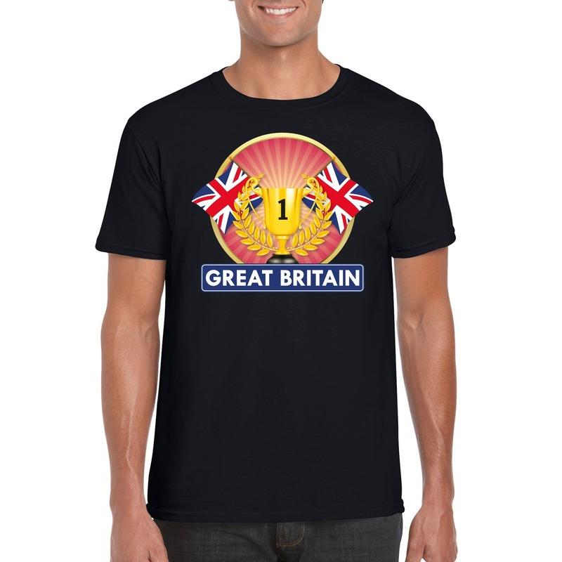 Zwart Groot Brittannie/ Engeland supporter kampioen shirt heren