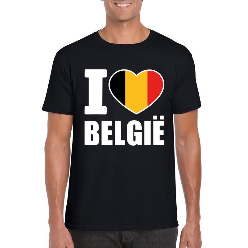 Zwart I love Belgie fan shirt heren