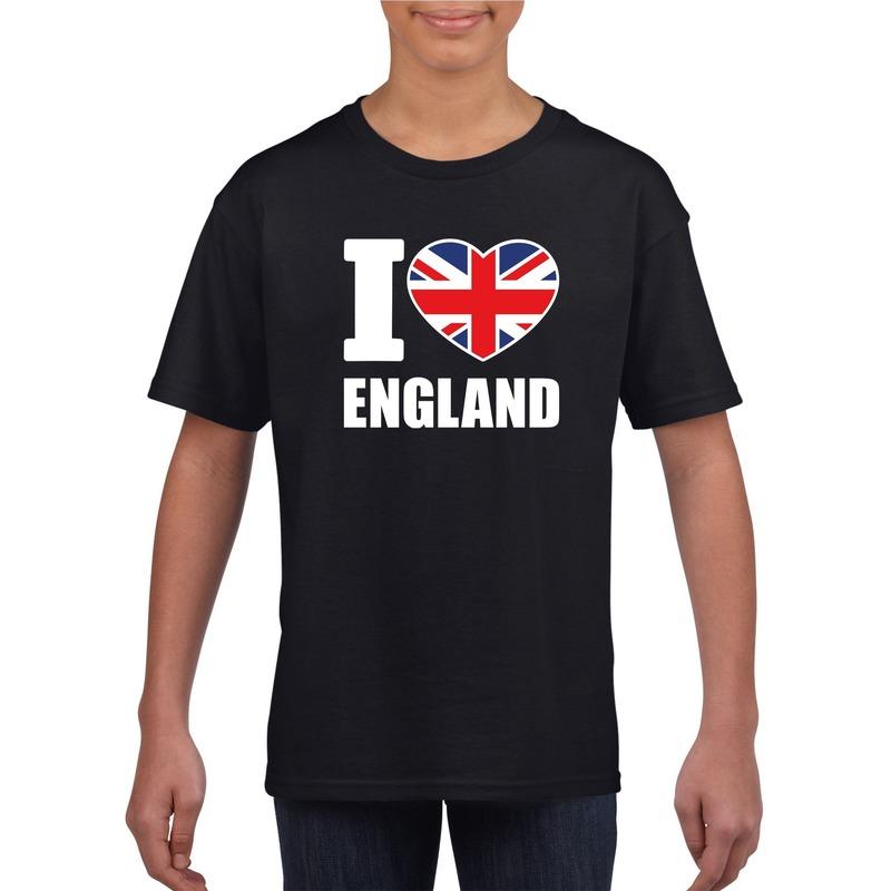 Zwart I love Engeland fan shirt kinderen